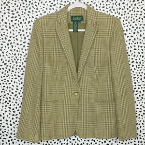 LRL Olive Cotton Houndstooth Plaid Check Blazer